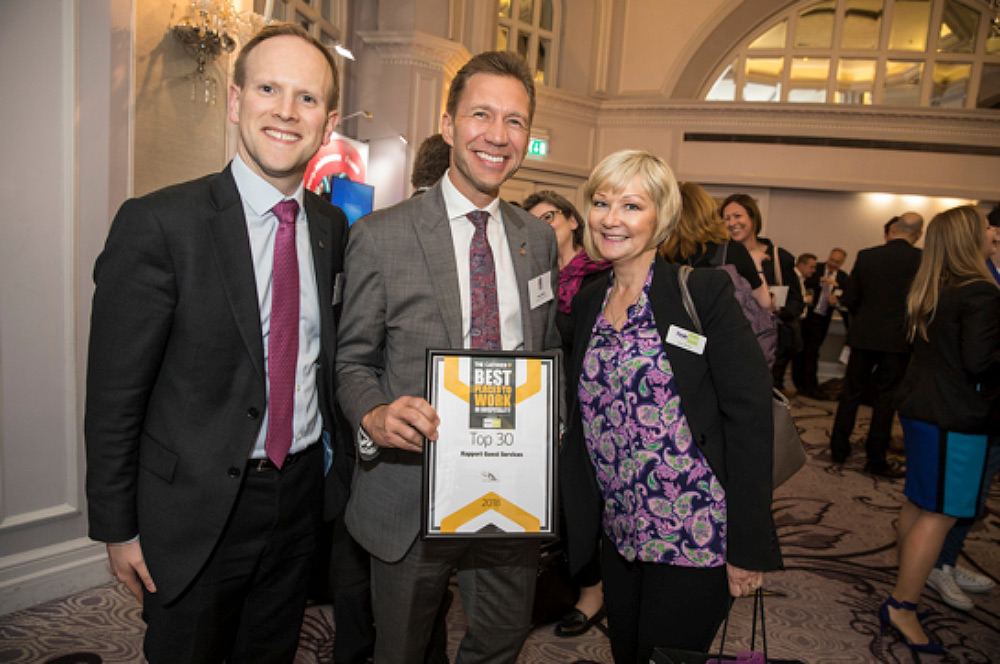 Rapport recognised in The Top 30 Best Places to Work in Hospitality for 5th year