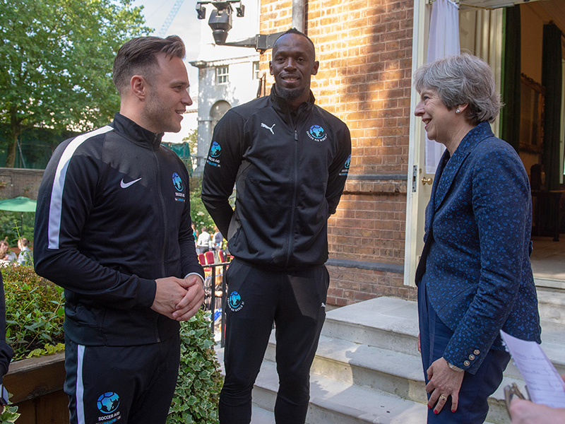Usain Bolt, Theresa May and Ollie Murrs